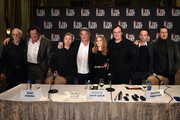 (L-R) Actors Bruce Dern, Michael Madsen, Tim Roth, Kurt Russell, Jennifer Jason Leigh, director Quentin Tarantino, Walton Goggins and Demian Bichir attend the press conference for THE HATEFUL EIGHT at Waldorf Astoria Hotel on December 14, 2015 in New York City.