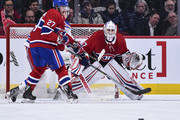 Goaltender Antti Niemi #37 of the Montreal Canadiens remains focused while protecting his net against the New York Rangers during the NHL game at the Bell Centre on February 22, 2018 in Montreal, Quebec, Canada.  The Montreal Canadiens defeated the New York Rangers 3-1.
