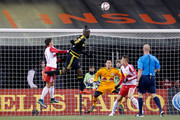 Kei Kamara #23 of the Columbus Crew SC heads the ball to the net but is saved by Luis Robles #31 of the New York Red Bulls during the second half on November 22, 2015 at MAPFRE Stadium in Columbus, Ohio. Columbus defeated New York 2-0.