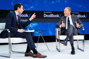 Andrew Ross Sorkin and Howard Schultz speak onstage at The New York Times 2017 DealBook Conference at Jazz at Lincoln Center on November 9, 2017 in New York City.