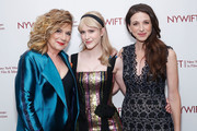 "(L-R) Actors Caroline Aaron, Rachel Brosnahan and Marin Hinkle attend the New York Women in Film and Television's ""Designing Women Awards"" at the DGA on June 11, 2019 in New York City."