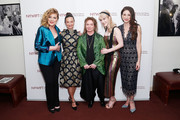 "(L-R) Actor Caroline Aaron, makeup artist Patricia Regan, costume designer Donna Zakowska, actor Rachel Brosnahan and actor Marin Hinkle attend the New York Women in Film and Television's ""Designing Women Awards"" at the DGA on June 11, 2019 in New York City."