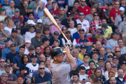 Matt Holliday #17 of the New York Yankees hits a solo home run during the ninth inning to tie the game 1-1 off Craig Kimbrel #46 of the Boston Red Sox (not pictured) at Fenway Park on July 15, 2017 in Boston, Massachusetts.