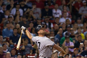 Matt Holliday #17 of the New York Yankees swings at a pitch during the thirteenth inning of a game against the Boston Red Sox at Fenway Park on July 15, 2017 in Boston, Massachusetts. The Yankees won 4-1 in sixteen innings.