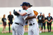 CC Sabathia #52 of the New York Yankees and Chris Sale #41 of the Boston Red Sox greet each other during the pre-game ceremonies before the MLB London Series game between Boston Red Sox and New York Yankees at London Stadium on June 29, 2019 in London, England.