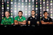 L to R, Coach Tim Sheens and captain Cameron Smith of the Kangaroos, captain Simon Mannering and coach Stephen Kearney of the Kiwis look on during a joint New Zealand Kiwis and Australian Kangaroos Four Nations Final joint press conference at Westpac Stadium on November 14, 2014 in Wellington, New Zealand.