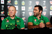 Coach Tim Sheens and captain Cameron Smith of the Kangaroos talk to the media during a joint New Zealand Kiwis and Australian Kangaroos Four Nations Final joint press conference at Westpac Stadium on November 14, 2014 in Wellington, New Zealand.