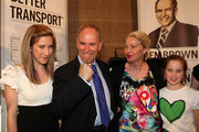 """Newly elected Super Mayor of Auckland Len Brown celebrates with his family, Daughter Olivia (L), wife Shan and youngest daughter Victoria on Super City election day on October 9, 2010 in Auckland, New Zealand. This is the first time a mayor will be elected for the enlarged Auckland City Council area known as """"Super City"""