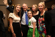 """Newly elected Super Mayor of Auckland Len Brown celebrates with his family, Daughters Olivia (L),Victoria, Sam and his wife Shan on Super City election day on October 9, 2010 in Auckland, New Zealand. This is the first time a mayor will be elected for the enlarged Auckland City Council area known as """"Super City"""