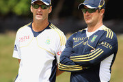 Head coach Gary Kirsten (L) and Mark Boucher attend the South African national cricket team nets session and press conference at Claremont Cricket Club on January 17, 2013 in Cape Town, South Africa.