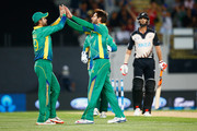 Shahid Afridi of Pakistan celebrates his wicket of Grant Elliott of New Zealand during the first T20 match between New Zealand and Pakistan at Eden Park on January 15, 2016 in Auckland, New Zealand.