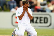 Imran Tahir of South Africa rues a missed chance during day four of the First Test match between New Zealand and South Africa at University Oval on March 10, 2012 in Dunedin, New Zealand.
