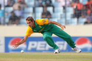 Imran Tahir of South Africa fields during the 2011 ICC World Cup Quarter-Final match between New Zealand and South Africa at Shere-e-Bangla National Stadium on March 25, 2011 in Dhaka, Bangladesh.