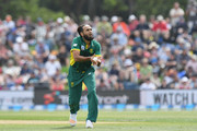 Imran Tahir of South Africa catches the ball during game two of the One Day International series between New Zealand and South Africa at Hagley Oval on February 22, 2017 in Christchurch, New Zealand.