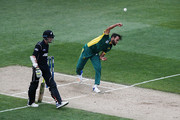 Imran Tahir of South Africa bowls during game five of the One Day International series between New Zealand and South Africa at Eden Park on March 4, 2017 in Auckland, New Zealand.