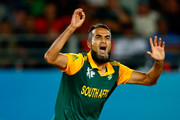 Imran Tahir of South Africa reacts  during the 2015 Cricket World Cup Semi Final match between New Zealand and South Africa at Eden Park on March 24, 2015 in Auckland, New Zealand.
