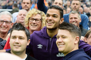 Hatem Ben Arfa of Hull City poses with the fans prior to kickoff during the Barclays Premier League match between Newcastle United and Hull City at St James' Park on September 20, 2014 in Newcastle upon Tyne, England.