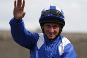 Paul Hanagan riding Muhaarar celebrates winning The Darley July Cup at Newmarket racecourse on July 11, 2015 in Newmarket, England.