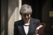 British Prime Minister Theresa May leaves 10 Downing Street to attend the weekly Prime Ministers Questions at the House of Commons on May 22, 2019 in London, England. Mrs May is under increased pressure as she continues to try and get her Brexit withdrawal agreement through.