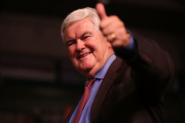 Newt Gingrich Donald Trump Campaigns In Fort Myers, Florida