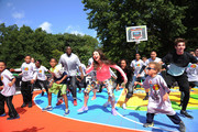 Former NBA player Felipe Lopez  leads activities with actors (L-R) Tylen Jacob Williams, Jack Griffo and Kira Kosarin at Nickelodeon's 11th Annual Worldwide Day of Play at Prospect Park on September 20, 2014 in New York City.