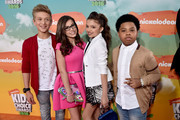 (L-R) TV Personalities Thomas Kuc, Madisyn Shipman, Cree Cicchino,and Benjamin Flores Jr. attend Nickelodeon's 2016 Kids' Choice Awards at The Forum on March 12, 2016 in Inglewood, California.