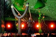 Actors Jason Sudeikis and Josh Gad get slimed onstage during Nickelodeon's 2016 Kids' Choice Awards at The Forum on March 12, 2016 in Inglewood, California.