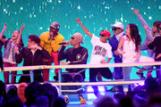 Shay Haley, Pharrell Williams and Chad Hugo perform onstage at Nickelodeon's 2018 Kids' Choice Awards at The Forum on March 24, 2018 in Inglewood, California.
