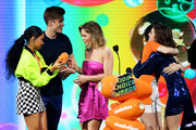 (L-R) Daniella Perkins, Owen Joyner, Candace Cameron Bure, Lilimar and Soni Nicole Bringas speak onstage at Nickelodeon's 2019 Kids' Choice Awards at Galen Center on March 23, 2019 in Los Angeles, California.