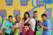 (L-R) Actors Azim Rizk, Ciara Hanna, Christina Masterson, Andrew Gray, Cameron Jebo, and John Mark Loudermilk of Mighty Morphin Power Rangers attend Nickelodeon's 27th Annual Kids' Choice Awards held at USC Galen Center on March 29, 2014 in Los Angeles, California.
