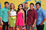 (L-R) Actors Azim Rizk, Ciara Hanna, Christina Masterson, Cameron Jebo, Andrew Gray, and John Mark Loudermilk of Mighty Morphin Power Rangers attend Nickelodeon's 27th Annual Kids' Choice Awards held at USC Galen Center on March 29, 2014 in Los Angeles, California.