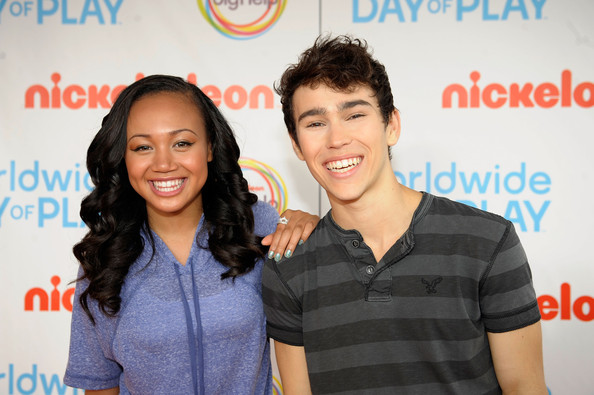 Cymphonique Miller and Max Schneider celebrate Nickelodeon's largest ever Worldwide Day of Play at the Ellipse on September 24, 2011 in Washington, DC.