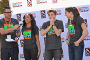 (L-R) DJ J Boogie, actors Sydney Park, Jack Griffo and Kira Kosarin speak at Nickelodeon Get Dirty Earth Day at Los Angeles Zoo on March 9, 2014 in Los Angeles, California.