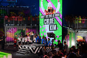 Snowboarder Chloe Kim accepts her 'Don't Try This At Home' award onstage during the Nickelodeon Kids' Choice Sports 2018 at Barker Hangar on July 19, 2018 in Santa Monica, California.