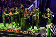 (L-R) Olivia Moultrie, Laurie Hernandez, Rob Gronkowski, David Dobrik, Ben Simmons, host Michael Strahan, Trae Young, Kel Mitchell, Nyjah Huston, Alysa Liu, Shaun White, and Lindsey Vonn react after being slimed onstage during Nickelodeon Kids' Choice Sports 2019 at Barker Hangar on July 11, 2019 in Santa Monica, California.