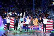 (L-R) USWNT soccer players Abby Wambach, Alex Morgan, Ali Krieger, Ashlyn Harris, Christie Rampone, Christen Press, Kelley O'Hara and Hope Solo speak onstage at the Nickelodeon Kids' Choice Sports Awards 2015 at UCLA's Pauley Pavilion on July 16, 2015 in Westwood, California.