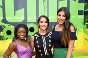 (L-R) Olympic gymnasts Simone Biles and Aly Raisman and actor Daniella Monet attend Nickelodeon Kids' Choice Sports Awards 2017 at Pauley Pavilion on July 13, 2017 in Los Angeles, California.