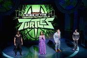 (L-R) Brandon Mychal Smith, Kat Graham, John Cena and Josh Brener speak onstage at the Nickelodeon Upfront 2018 at Palace Theatre on March 6, 2018 in New York City.