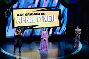 (L-R) Brandon Mychal Smith, Kat Graham, and Josh Brener speak onstage at the Nickelodeon Upfront 2018 at Palace Theatre on March 6, 2018 in New York City.