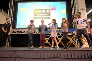 """(L-R) Viner superstar Josh Peck and cast of Nickelodeon's Game Shakers, Benjamin """"Lil P-Nut"""" Flores Jr., Thomas Kuc, Madisyn Shipman, Cree Cicchino, and Kel Mitchell speak onstage at VidCon on July 25, 2015 in Anaheim, California. New live-action comedy series set to premiere Saturday, Sept. 12 at 8:30pm (ET/PT)"""