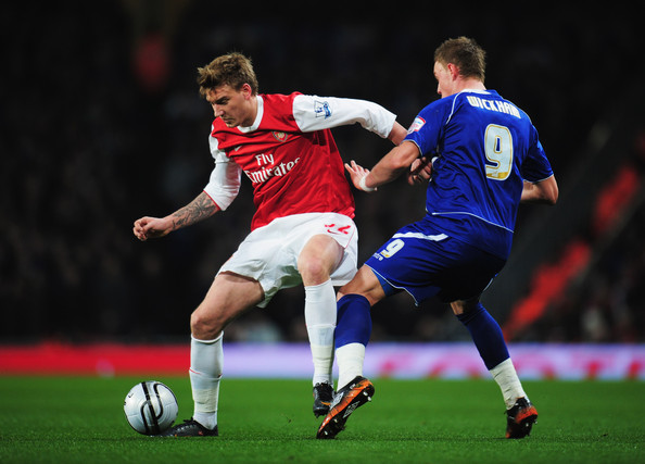 Nicklas Bendtner Nicklas Bendtner of Arsenal holds off Connor Wickham of Ipswich Town during the Carling Cup Semi Final Second Leg match between Arsenal and Ipswich Town at Emirates Stadium on January 25, 2011 in London, England.