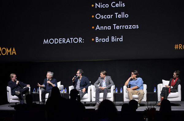 Netflix 'Roma' Experience Day [event,convention,font,technology,conversation,academic conference,audience,performance,news conference,public speaking,netflix,experience day,anna terrazas speak onstage at the netflix roma experience at raleigh studiods,roma,los angeles,california,oscar tello,bard bird,alfonso cuar\u00e33n,nico celis]