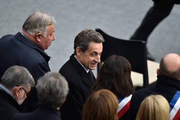 Nicolas Sarkozy National Tribute to the Victims of The Paris Terrorist Attacks at Les Invalides In Paris