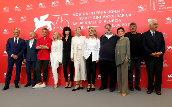 Jury Photocall - 75th Venice Film Festival [jury,guillermo del toro,director,competition jury members,president,jury members,photocall - 75th,photocall,red,event,team,company,management,employment,collaboration,businessperson,venice film festival,festival]