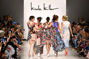 Claudia Mason, Patricia Velasquez, Pat Cleveland, Veronica Webb, and Frederique van der Wal take a bow on the runway for Nicole Miller during New York Fashion Week: The Shows at Gallery II at Spring Studios on September 08, 2019 in New York City.