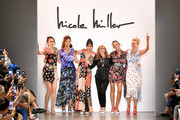 Claudia Mason, Veronica Webb, Patricia Velasquez, Nicole Miller, Pat Cleveland, and Frederique van der Wal take a bow on the runway for Nicole Miller during New York Fashion Week: The Shows at Gallery II at Spring Studios on September 08, 2019 in New York City.