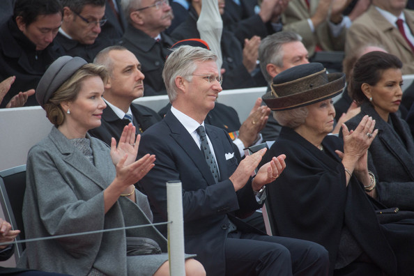 Queen Mathilde of Belgium, King Philippe of Belgium and Princess Beatrix of The Netherlands attend the Commemoration of 100th Anniversary of WWI marking one hundred years since the start of the first World War on October 28, 2014 in Nieuwpoort, Belgium.