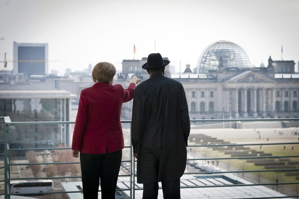 In this photo provided by the German Government Press Office (BPA), Chancellor Angela Merkel of Germany talks with Nigerian president Goodluck Ebele Jonathan as they take in the view from the roof of the Office of the Federal Chancellor and across the area of administrative government on April 19, 2012 in Berlin, Germany. President Jonathan is visiting Germany for bilateral discussions between the two nations.
