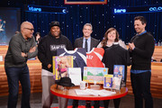 (L-R)  Larry Wilmore, Keenan Thompson, Andy Cohen, Aidy Bryant, and Seth Meyers attend The Night Of Too Many Start Live Telethon on March 8, 2015 in New York City.