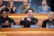 (L-R)  Jason Jones, Keenan Thompson, Sam Bee, Larry Wilmore, Seth Meyers, John Hodgman, and Larry David attend The Night Of Too Many Start Live Telethon on March 8, 2015 in New York City.